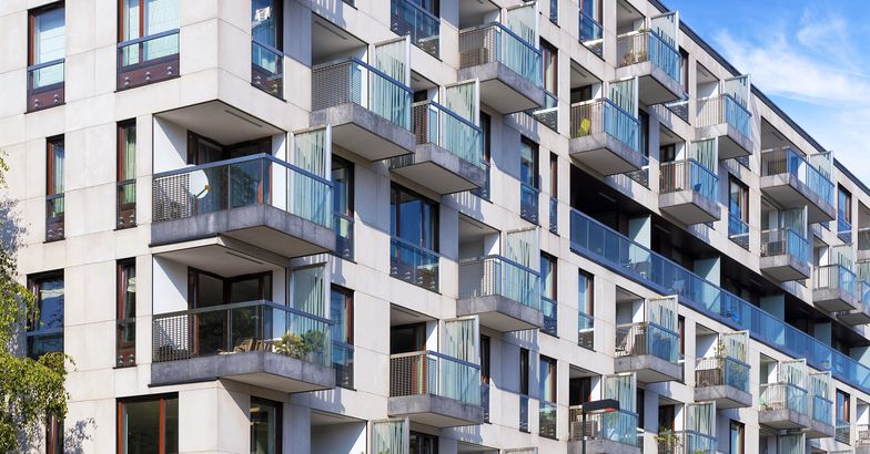 Rows of balconies in modern apartment building