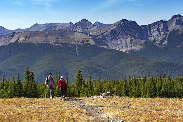 Senior couple hiking in the mountains