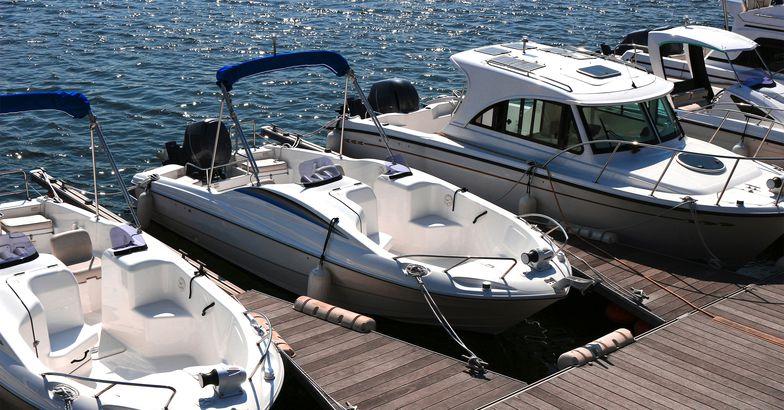 Marina with docked boats