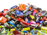 Pile of miniature-sized popular candies