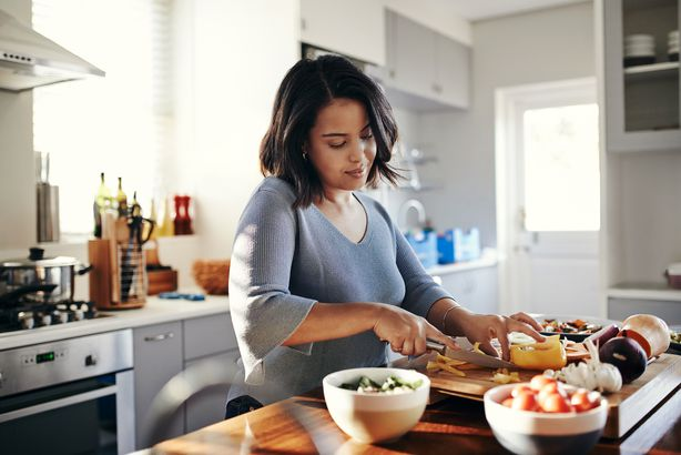Woman prepping meals