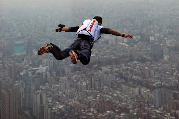 Felix Baumgartner skydiving for Redbull