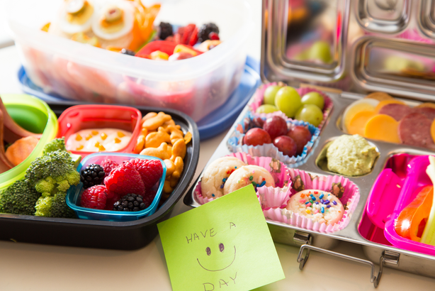 Assorted kids' bento box lunches