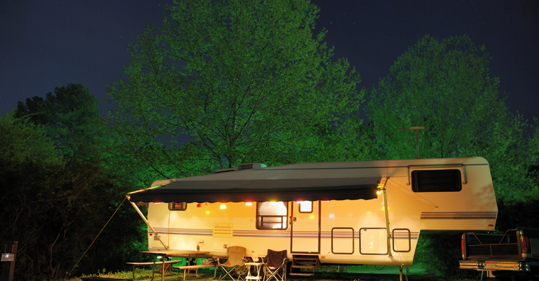 RV campsite at night