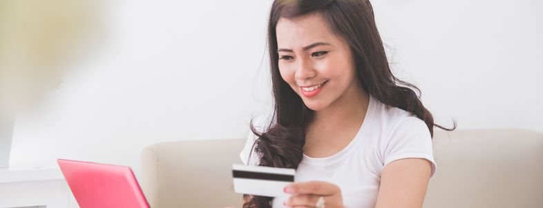 Woman buying things online
