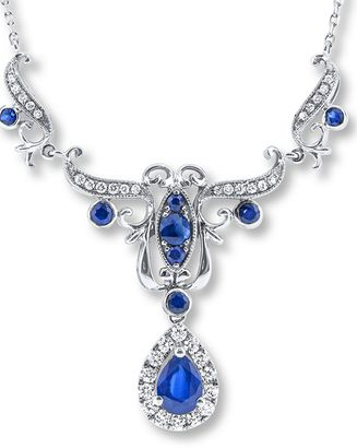 Diamond and Sapphire Necklace In White Gold