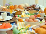 view of table with easter brunch foods