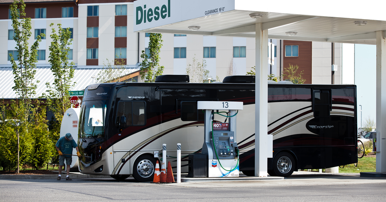 RV pulling into a gas station