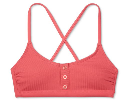 046eb60f8c10 Women s Ribbed Snap Front Bralette Bikini Top