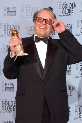 actor jack nicholson with best performance by an actor in a drama for 'about schmidt'
