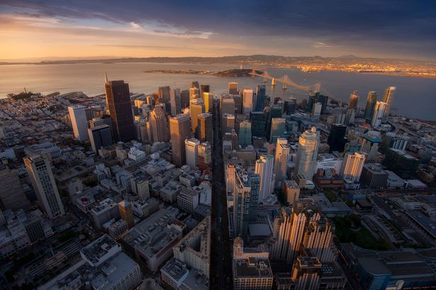 downtown San Francisco as seen from helicopter