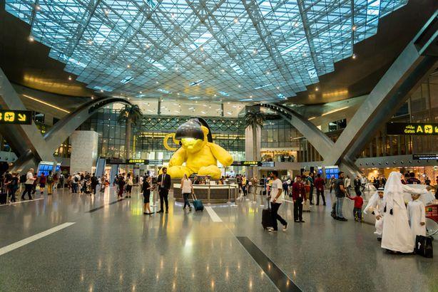 Hamad International airport lamp bear