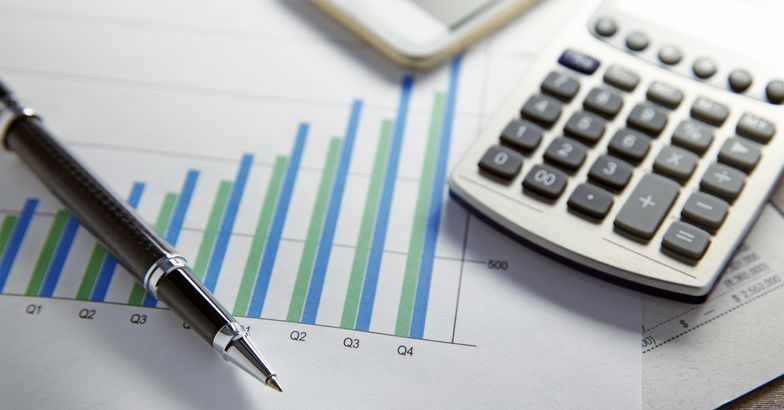 Financial charts and a calculator