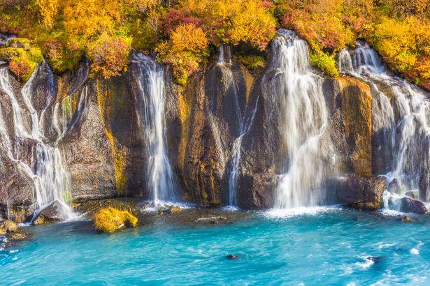 Fall at Hraunfossar Waterfalls, Borgarfjörður, Iceland