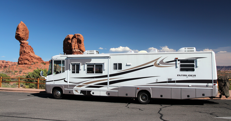 Large RV on the side of the road