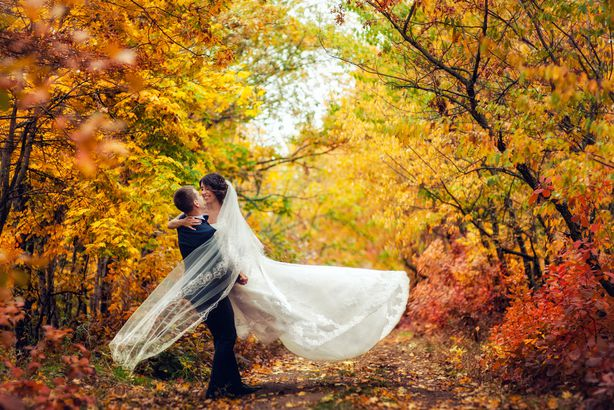 Couple taking wedding pictures in autumn