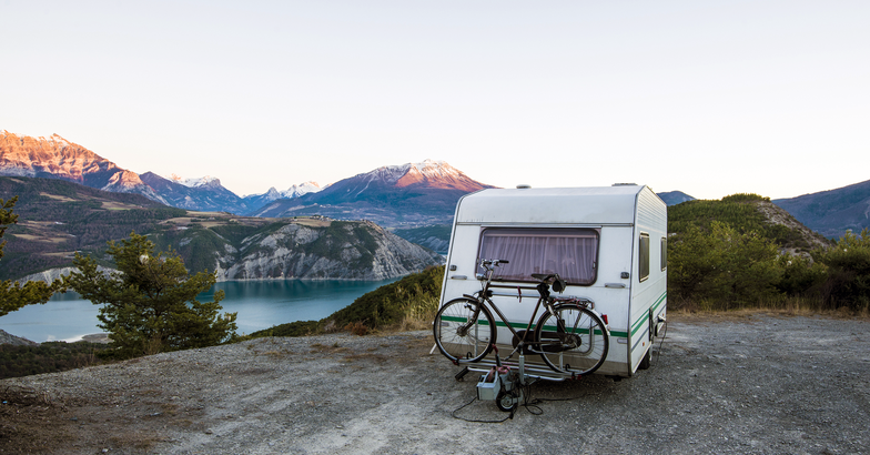 RV parked on a cliff