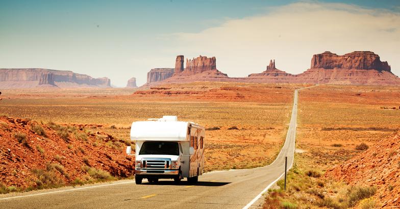 RV driving in the desert