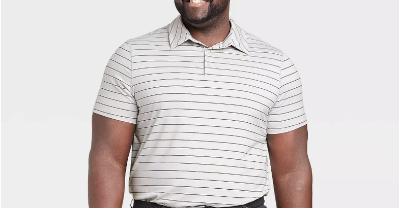 All in Motion Men's Striped Golf Polo Shirt