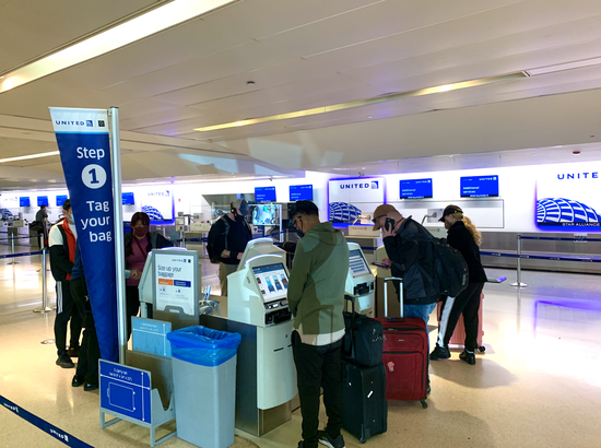 Bag check-in area at EWR
