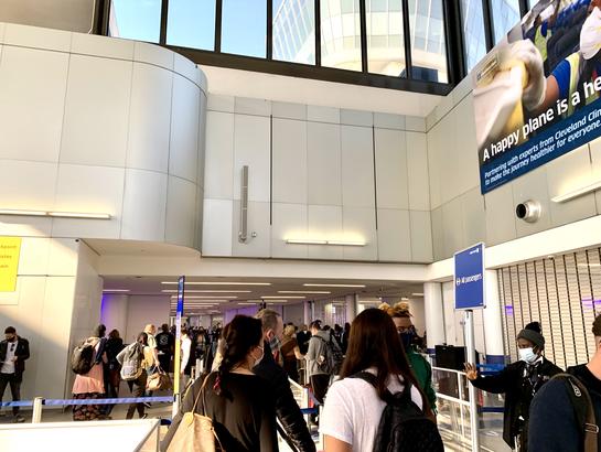 The TSA checkpoint at EWR