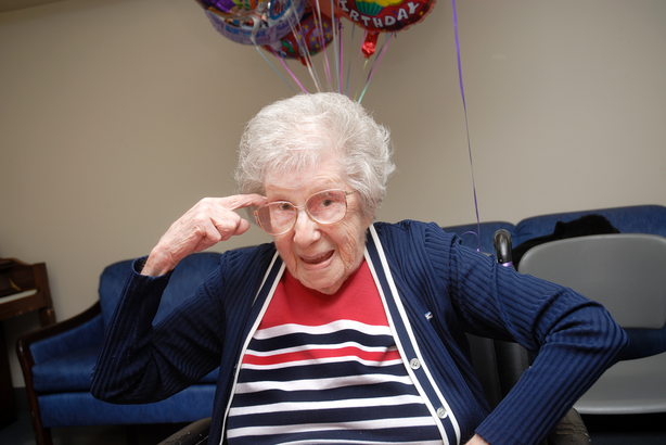 Happy centenarian woman