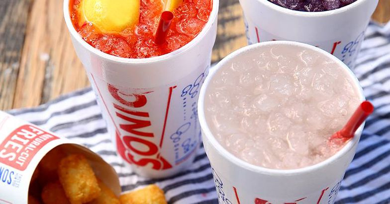 Sonic soft drinks and tater tots