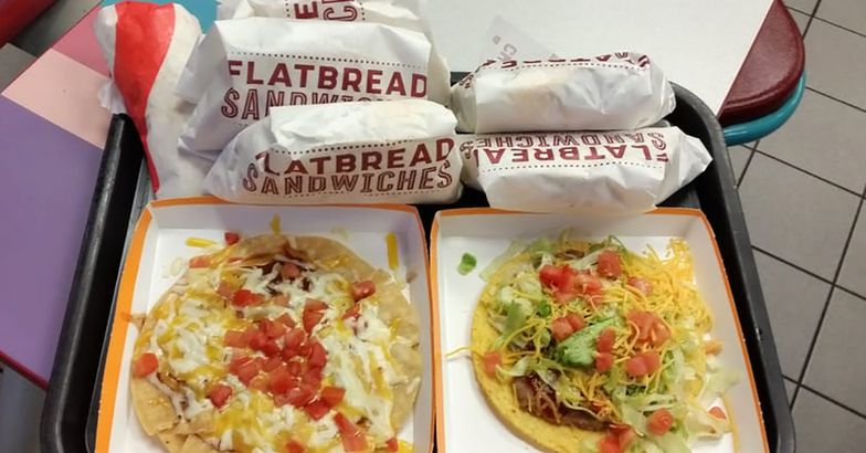 Mexican pizza and tostada from Taco Bell