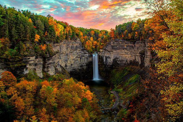 Fall in Taughannock Falls, New York