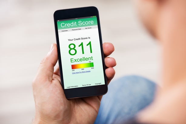 Closeup of excellent credit score on a smartphone