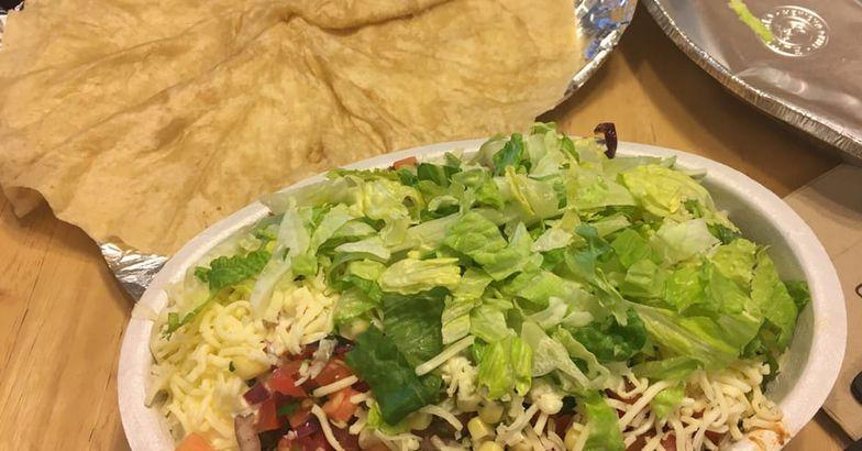Chipotle salad and tortilla