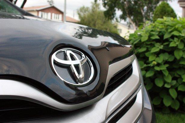 Closeup of Toyota logo on a vehicle