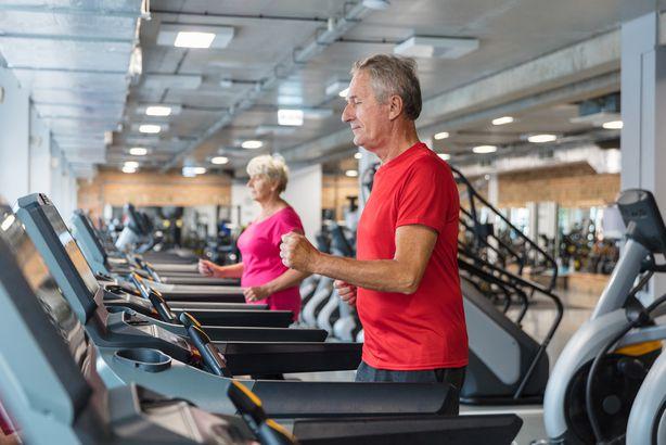 Senior man on a treadmill