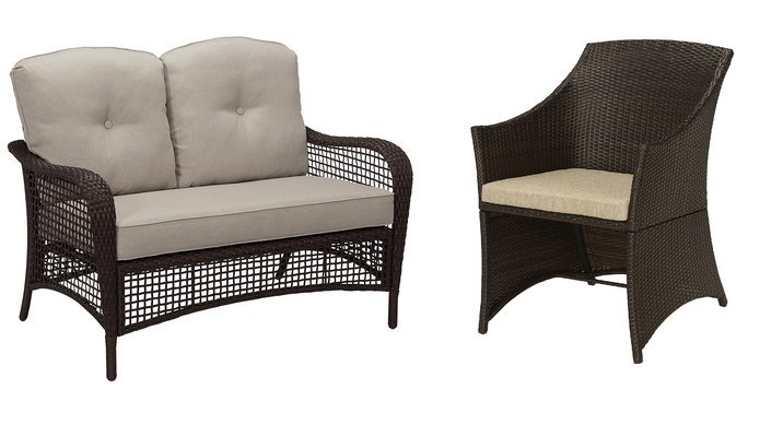 Compilation of patio furniture on white background