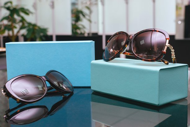 Designer women's sunglasses on display
