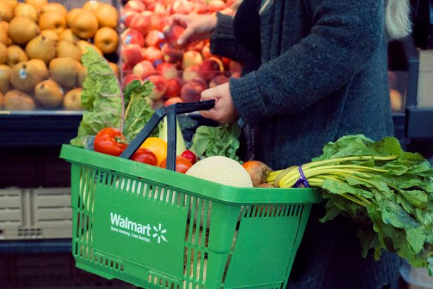 Walmart grocery basket with produce