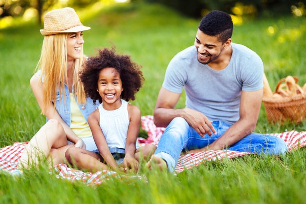 Family having a picnic in the summer