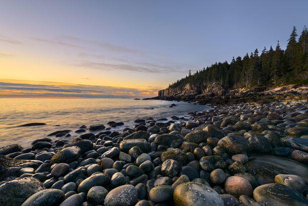 Acadia rock beach at sunrise