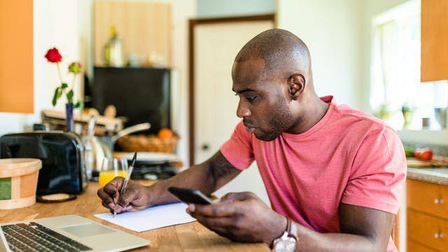 A man doing finances
