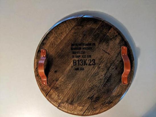Bourbon barrel serving tray
