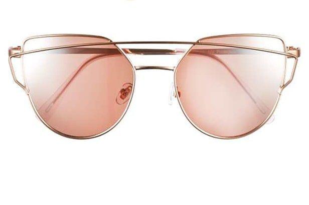 Women's thin brow bar aviator sunglasses
