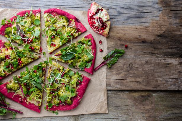 Cabbage and beets pizza