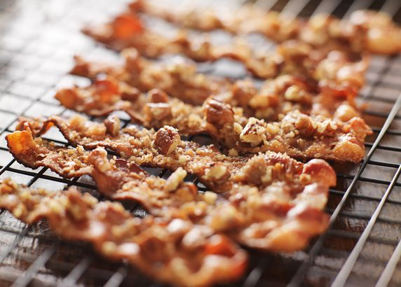 Candied bacon with pecans and brown sugar