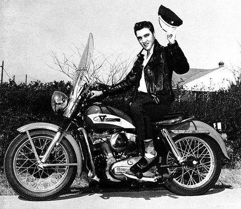 Elvis on a motorcycle