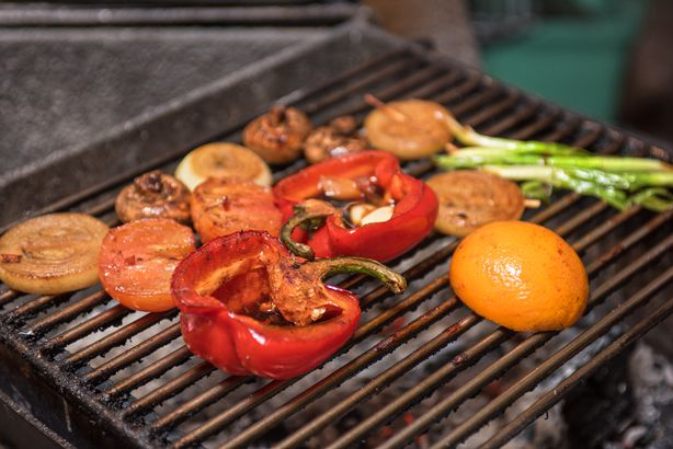 Grilled bell peppers and mangos