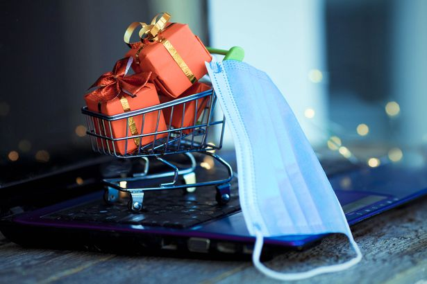 Holiday shopping cart with mask