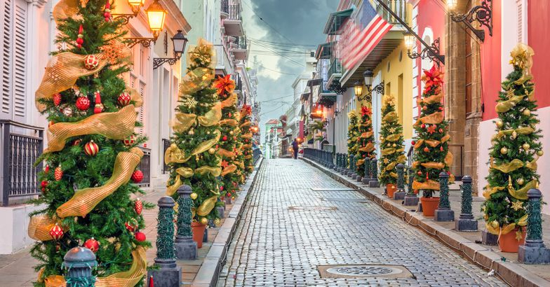 street in san juan decorated with christmas trees