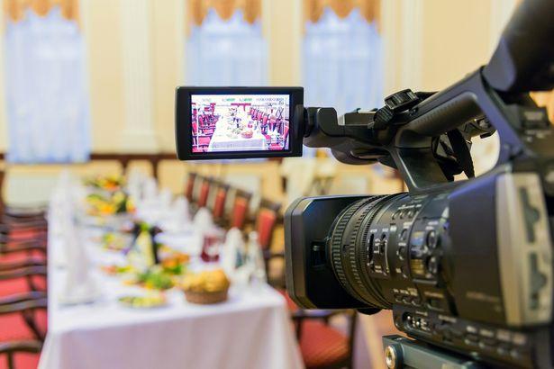 videocamera focused on dinner table