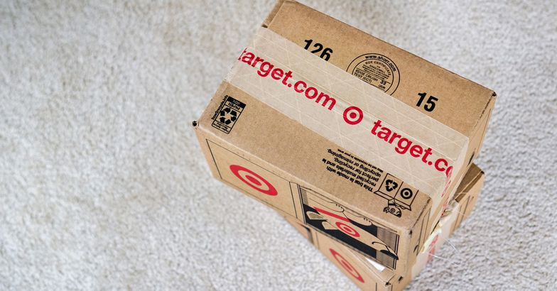 Target delivery packages on grey carpet