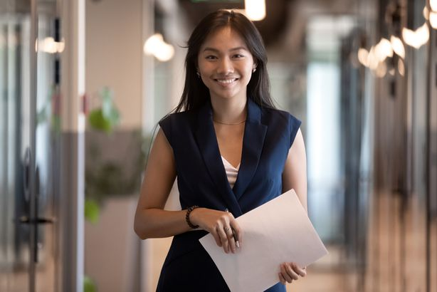 Young woman in business casual clothing